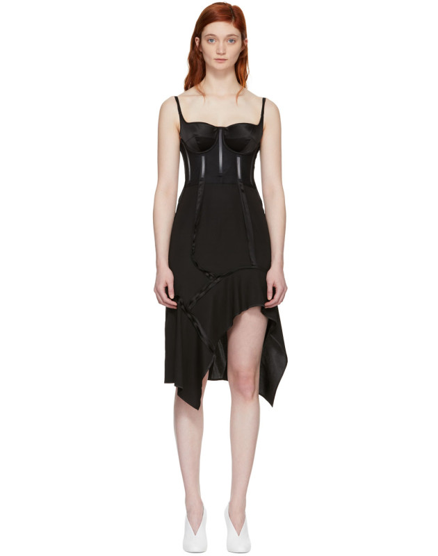 photo Black Silk Deconstructed Corset Dress by Olivier Theyskens - Image 1