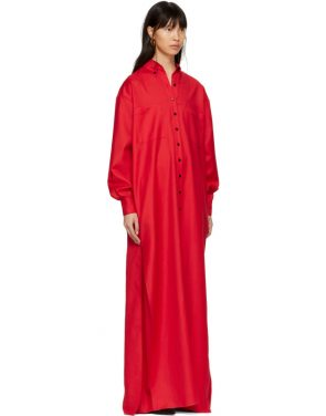 photo Red Floor-Length Shirt Dress by Kwaidan Editions - Image 2