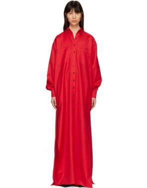 photo Red Floor-Length Shirt Dress by Kwaidan Editions - Image 1
