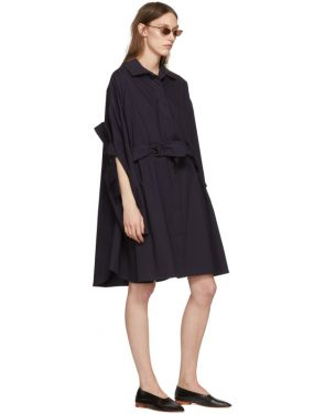 photo Navy Bow Shirt Dress by Roberts | Wood - Image 5