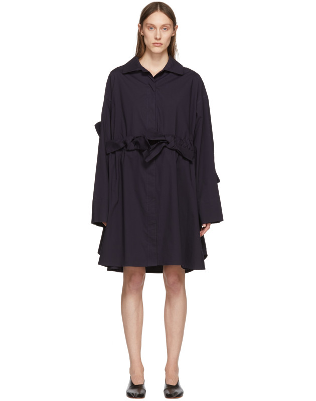 photo Navy Bow Shirt Dress by Roberts | Wood - Image 1