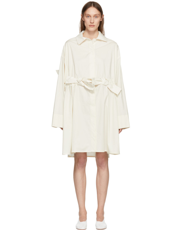 photo Off-White Bow Shirt Dress by Roberts | Wood - Image 1