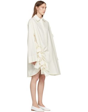 photo Off-White Gathered Ruffle Dress by Roberts | Wood - Image 2