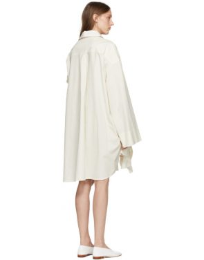 photo Off-White Gathered Ruffle Dress by Roberts | Wood - Image 3