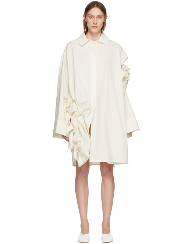 photo Off-White Gathered Ruffle Dress by Roberts | Wood - Image 1
