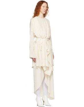 photo Ivory Draped Dress by A.W.A.K.E. - Image 2