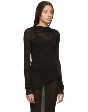 photo Black Backless T-Shirt Mini Dress by Rick Owens Lilies - Image 2