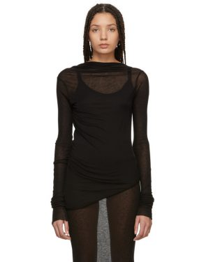 photo Black Backless T-Shirt Mini Dress by Rick Owens Lilies - Image 1
