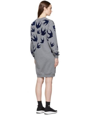 photo Grey Swallow Signature Sweatshirt Dress by McQ Alexander McQueen - Image 3
