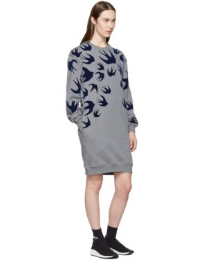 photo Grey Swallow Signature Sweatshirt Dress by McQ Alexander McQueen - Image 4