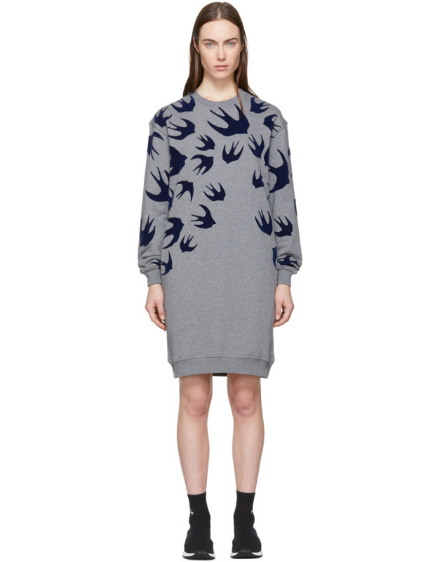 photo Grey Swallow Signature Sweatshirt Dress by McQ Alexander McQueen - Image 1
