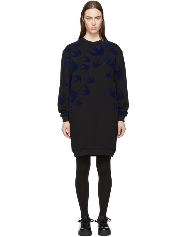 photo Black Swallow Signature Sweatshirt Dress by McQ Alexander McQueen - Image 1