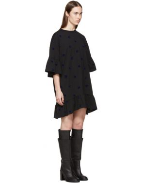 photo Black Mini Swallow Ruffled T-Shirt Dress by McQ Alexander McQueen - Image 2