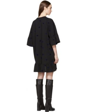 photo Black Mini Swallow Ruffled T-Shirt Dress by McQ Alexander McQueen - Image 3