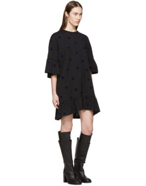 photo Black Mini Swallow Ruffled T-Shirt Dress by McQ Alexander McQueen - Image 4