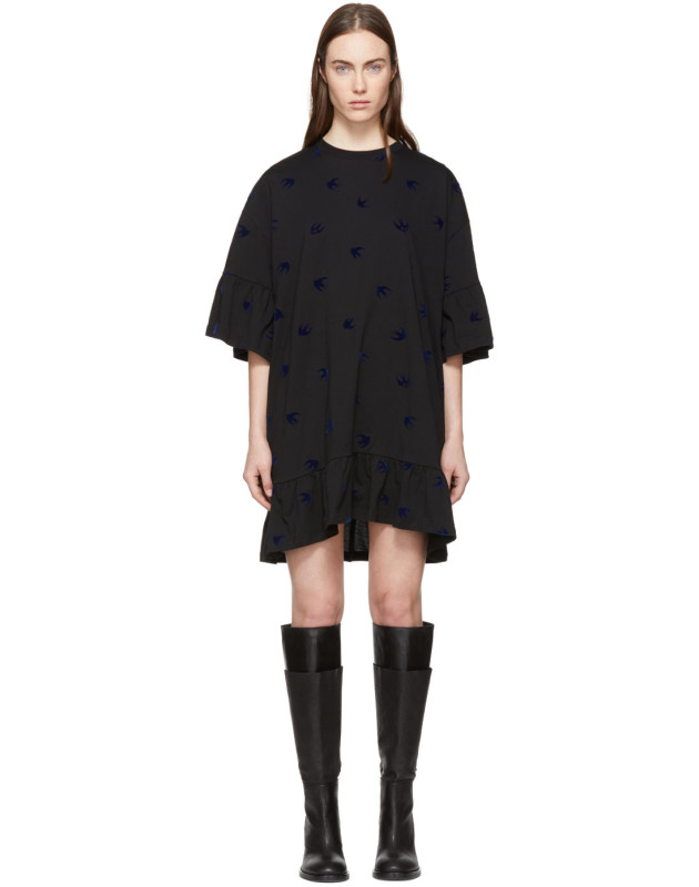 photo Black Mini Swallow Ruffled T-Shirt Dress by McQ Alexander McQueen - Image 1