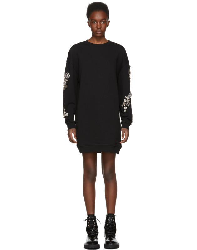 photo Black Diamante Sweatshirt Dress by McQ Alexander McQueen - Image 1