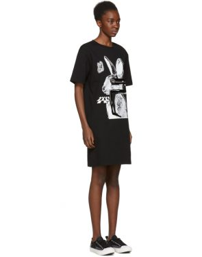 photo Black Glitch Bunny Slouch T-Shirt Dress by McQ Alexander McQueen - Image 2