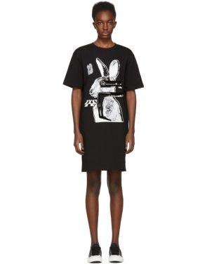 photo Black Glitch Bunny Slouch T-Shirt Dress by McQ Alexander McQueen - Image 1