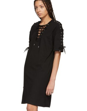photo Black Laced T-Shirt Dress by McQ Alexander McQueen - Image 4