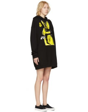 photo Black Bunny Cut Supersized Hoodie Dress by McQ Alexander McQueen - Image 2