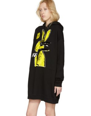 photo Black Bunny Cut Supersized Hoodie Dress by McQ Alexander McQueen - Image 4