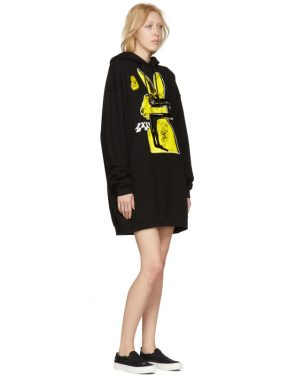photo Black Bunny Cut Supersized Hoodie Dress by McQ Alexander McQueen - Image 5