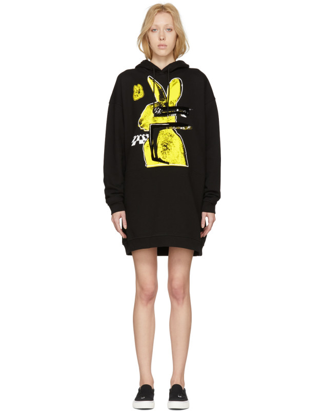 photo Black Bunny Cut Supersized Hoodie Dress by McQ Alexander McQueen - Image 1