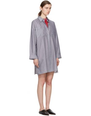 photo White and Navy Striped Jacui Shirt Dress by Acne Studios - Image 2