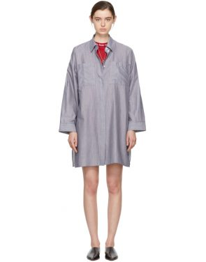 photo White and Navy Striped Jacui Shirt Dress by Acne Studios - Image 1