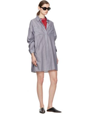 photo White and Navy Striped Jacui Shirt Dress by Acne Studios - Image 4