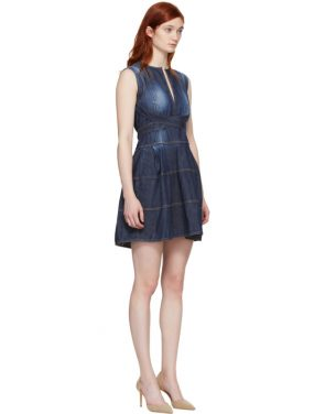 photo Blue Panelled Strap Dress by Dsquared2 - Image 2