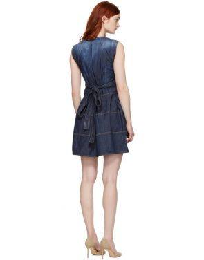 photo Blue Panelled Strap Dress by Dsquared2 - Image 3