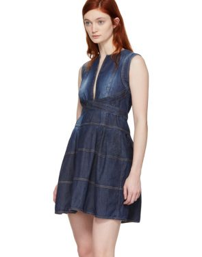 photo Blue Panelled Strap Dress by Dsquared2 - Image 4