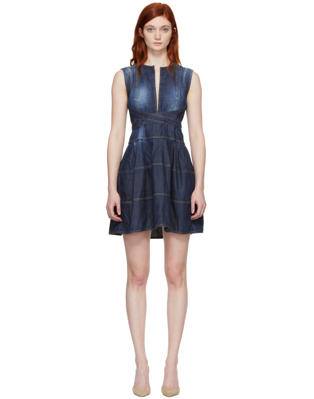 photo Blue Panelled Strap Dress by Dsquared2 - Image 1