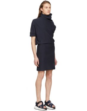 photo Navy Asymmetric Sweatshirt Dress by Maison Margiela - Image 2