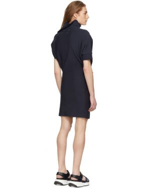 photo Navy Asymmetric Sweatshirt Dress by Maison Margiela - Image 3