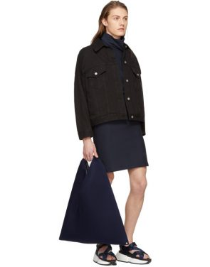 photo Navy Asymmetric Sweatshirt Dress by Maison Margiela - Image 4