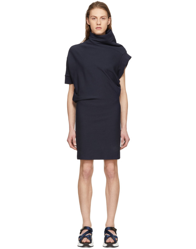 photo Navy Asymmetric Sweatshirt Dress by Maison Margiela - Image 1