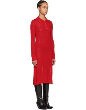 photo Red Irregular Rib Knit Dress by Maison Margiela - Image 2