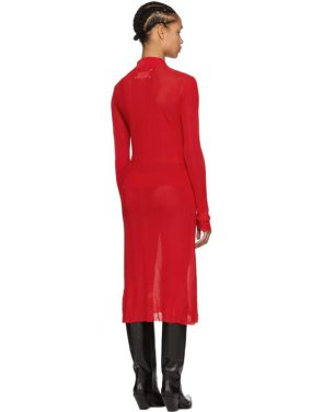 photo Red Irregular Rib Knit Dress by Maison Margiela - Image 3