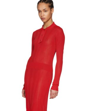 photo Red Irregular Rib Knit Dress by Maison Margiela - Image 4