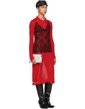 photo Red Irregular Rib Knit Dress by Maison Margiela - Image 5