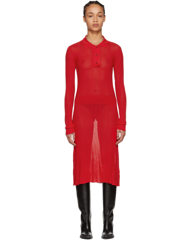 photo Red Irregular Rib Knit Dress by Maison Margiela - Image 1