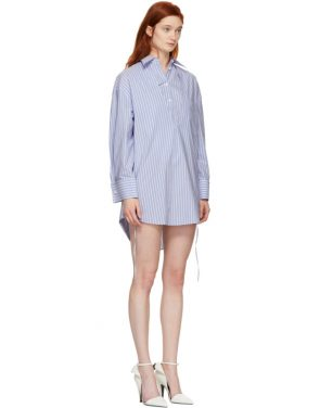 photo Blue and White Stripe Layered Shirt Dress by MM6 Maison Martin Margiela - Image 2