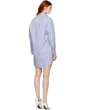 photo Blue and White Stripe Layered Shirt Dress by MM6 Maison Martin Margiela - Image 3