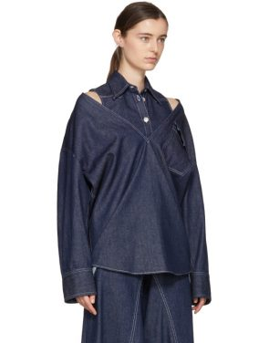 photo Indigo Raw Denim Layered Shirt Dress by MM6 Maison Martin Margiela - Image 2