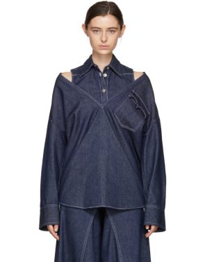photo Indigo Raw Denim Layered Shirt Dress by MM6 Maison Martin Margiela - Image 1