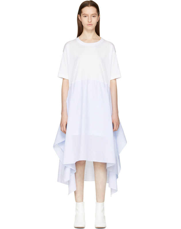 photo White Jersey Combo Dress by MM6 Maison Martin Margiela - Image 1