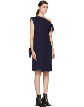 photo Navy Asymmetric Raw Denim Dress by MM6 Maison Martin Margiela - Image 2